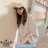 新款秋季韓版寬鬆bf慵懶風上衣網紅打底衫女長袖條紋T恤ins潮 歐韓流行館