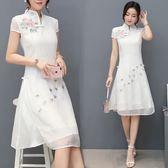 連衣裙 夏季新款韓版修身中長款立領盤扣中國風刺繡改良旗袍 GB4518『MG大尺碼』