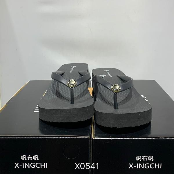 X-INGCHI SE1003 女款厚人字拖經典黑 NO.X0541