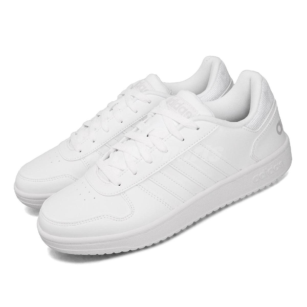 adidas 休閒鞋 Hoops 2.0 白 灰 男鞋 基本款 運動鞋 【PUMP306】 DB1085