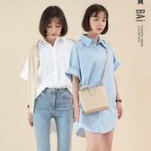 襯衫 基本款純色排釦寬鬆落肩長版上衣-BAi白媽媽【301628】