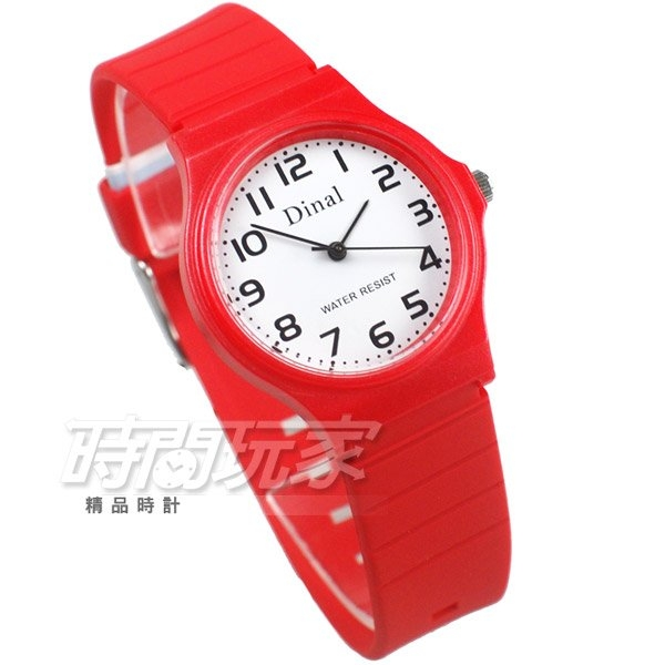 Dinal 時尚數字 簡單腕錶 防水手錶 數字錶 女錶 學生錶 紅色 D1307紅