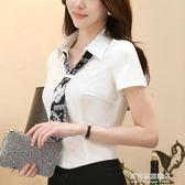 白襯衫女帶領帶短袖雪紡職業韓版夏季新款修身半袖白色襯衣寸 多莉絲旗艦店