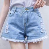 2018新款夏季破洞毛邊牛仔短褲女高腰寬鬆百搭顯瘦學生熱褲子闊腿   良品鋪子