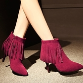 真皮短靴-磨砂皮性感細跟尖頭時尚流蘇女靴子3色72a28【巴黎精品】