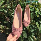 淺口圓頭平底鞋絨面蝴蝶結單鞋豆豆鞋【洛麗的雜貨鋪】