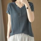 2021年夏季新款純棉線打底衫短袖T恤女寬松顯瘦上衣V領棉麻針織衫