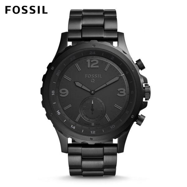 FOSSIL NATE黑色不鏽鋼指針式智慧手錶 男 FTW1115