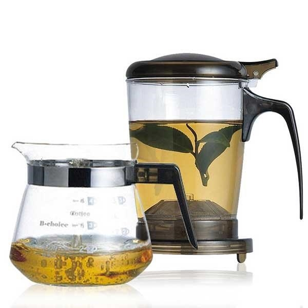 【南紡購物中心】【丞漢】快速沖泡壺(玻璃杯)/咖啡兩用泡茶壺+玻璃小巧壺PC-500-1