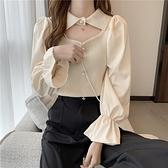 泡泡袖針織衫女2021年新款春季韓版長袖毛衣洋氣上衣女設計感小眾 韓國時尚週