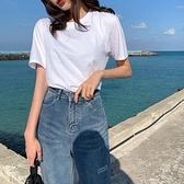白色短袖T恤女夏季新款韓版寬鬆純棉圓領純色長袖打底衫上衣 聖誕節全館免運