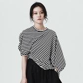 短袖T恤-短款時尚有型條紋不規則女上衣73sl21【巴黎精品】