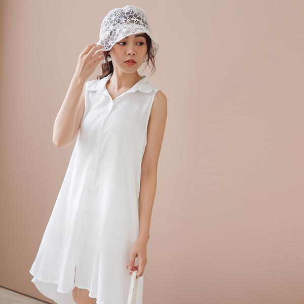 MIUSTAR 襯衫領排釦無袖棉麻洋裝(共6色)【NH1772】預購