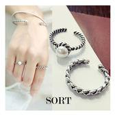 戒指 2件組復古銀色編織麻花鑲嵌珍珠 開口戒指  可調式戒指 【1DDR0002】