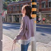 毛衣 港風毛衣外套女復古寬鬆韓版學生拼接短款針織開衫 蓓娜衣都