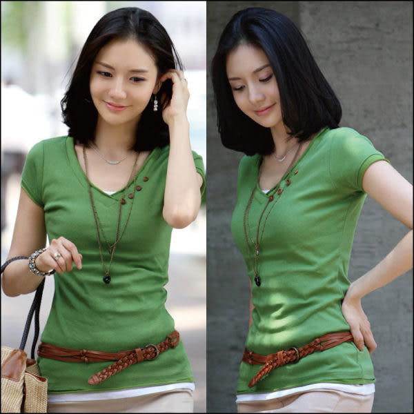 T-Shirt T-Shirt 【艾美天后】韓版夏季休閒百搭韓版鈕扣裝飾v領萊卡棉短袖t恤女款 針織衫