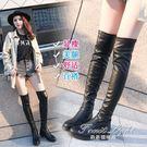 皮靴子女圓頭粗跟低跟防水臺騎士靴膝上靴彈力靴 新品促銷