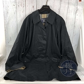 BRAND楓月 BURBERRY 博柏利 深藍風衣 單排釦 翻領 經典格紋內裡 長版 古著 保暖 防風 帥氣 中性