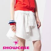 【SHOWCASE】仿襯衫袖綁帶短裙(白)