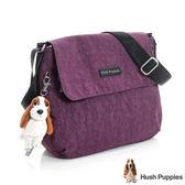 Hush Puppies素色簡約休閒側背包(中)-深紫色