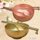 銅之魂 純紫銅碗 銅筷子銅勺子套裝 紅銅碗筷 手工銅餐具 兒童碗 3C優購
