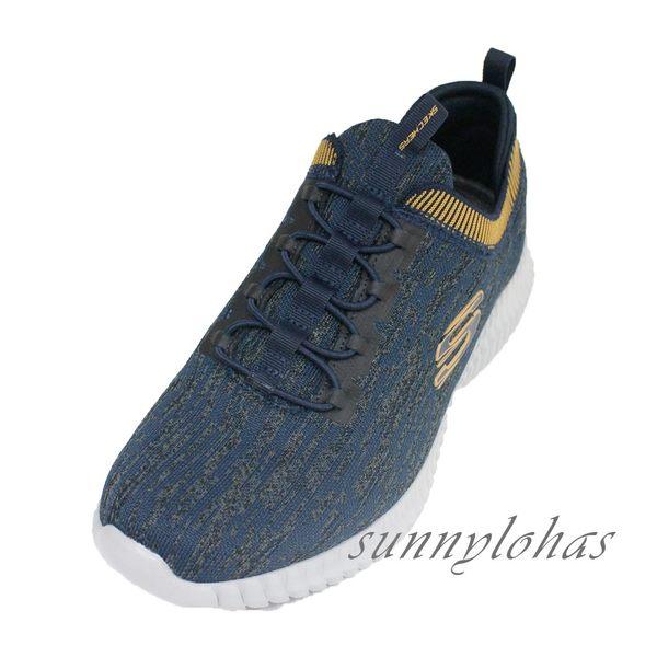 SKECHERS (男) ELITE FLEX 運動鞋 健走鞋 健身房 免綁帶 52642NVYL 藍黃 [陽光樂活]