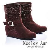 ★零碼出清★Keeley Ann 星耀閃爍 ~真皮金屬釦環內增高刷毛短靴(咖啡)