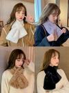 仿原宿毛毛絨獺兔毛圍巾女冬季韓版學生圍脖套頭白色百搭軟妹保暖 黛尼時尚精品