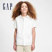 Gap男童 時尚素色翻領短袖襯衫 681348-白色