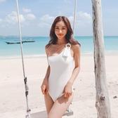 韓版泳衣 單肩韓國版 網紅小胸比基尼 白色藍色網紅泳裝 降價兩天