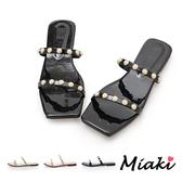 拖鞋-方頭珍珠一字細帶涼拖(台灣製)