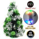 聖誕樹-摩達客 台灣製迷你1呎/1尺(30cm)裝飾綠色聖誕樹(綠球雪花系)+LED20燈彩光插電式(樹免組裝)