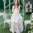 11266-QF時尚花邊方領優雅刺繡蕾絲透視感長裙洋裝~春夏洋裝~美之札