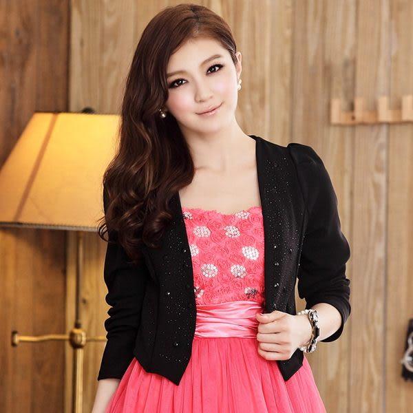 韓版時尚OL短版長袖燙鑽西裝小外套-美之札