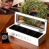 手錶收藏盒 唯愛飾品實木質五格手表盒 首飾收納盒收藏盒儲物盒白黑棕色【快速出貨八折下殺】