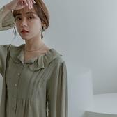 MIUSTAR 荷葉翻領貝殼釦壓紋棉麻上衣(共2色)【NJ2184】預購