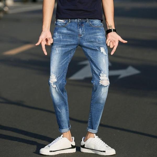 九分褲男牛仔褲破洞春季薄款男士修身小腳褲正韓潮流9分褲子男【快速出貨】