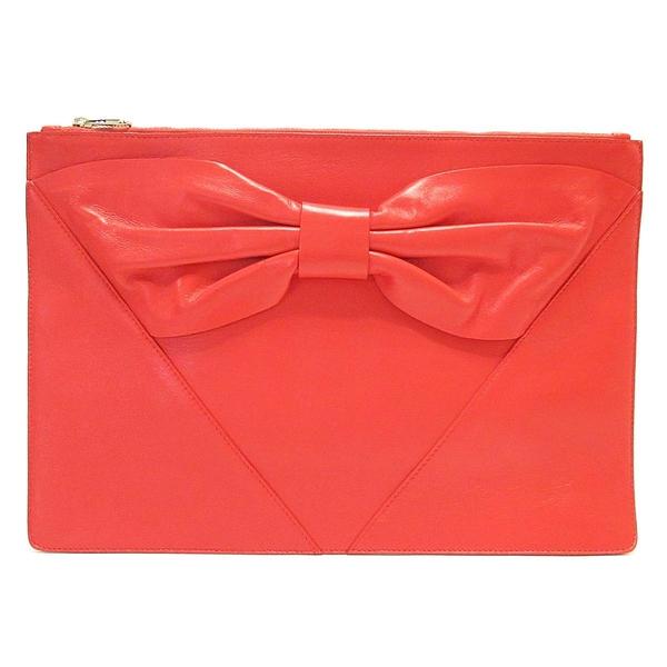 Red Valentino 范倫鐵諾 紅色牛皮大蝴蝶結造型手拿包 Bow Clutch Bag【BRAND OFF】