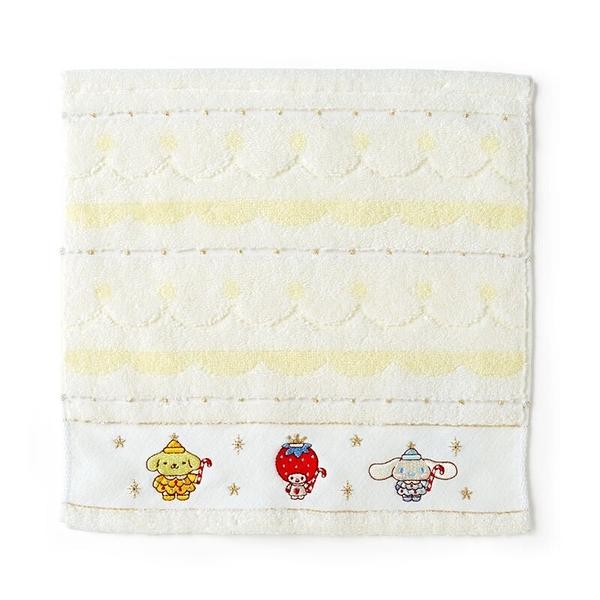 小禮堂 Sanrio大集合 純棉無捻紗方巾 純棉手帕 小毛巾 25x25cm (白 2020聖誕節) 4550337-17274