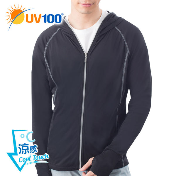 UV100 防曬 抗UV-涼感口罩連帽休閒外套-男