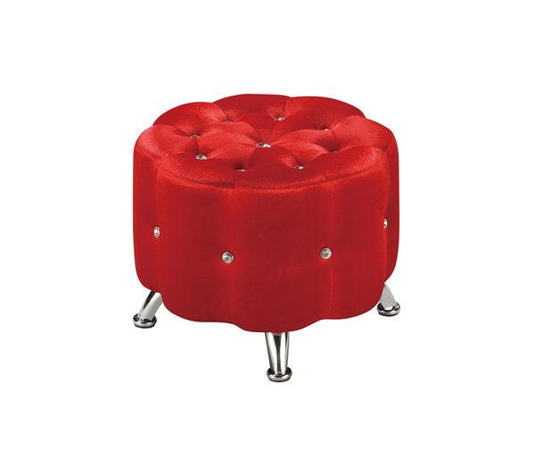 【森可家居】花朵紅色小椅凳 7ZX347-12 沙發椅凳 絨布 水讚
