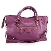 BALENCIAGA 粉紫色皮革金釦City機車包(九五成新)