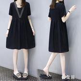 短袖娃娃裙雪紡洋裝連身裙 2019夏季新款大碼寬鬆顯瘦中長款女 BT11790『優童屋』