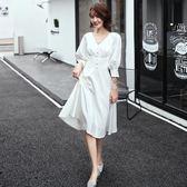 白色小晚禮服裙女2019新款氣場女王氣質平時可穿高貴洋裝宴會法式 初心家居