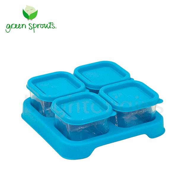 Green Sprouts副食品小分裝盒60ml 一組4入(玻璃)-藍色