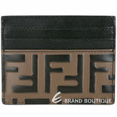 FENDI FF配色小牛皮浮雕卡片夾(黑x棕) 1920489-76