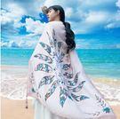 絲巾女百搭春夏季雲南旅游拍照圍巾海邊沙灘巾防曬超大披肩紗巾『艾麗花園』