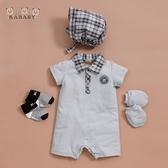 【金安德森】春夏新生兒兔裝禮盒-休閒風短袖兔裝-水藍色