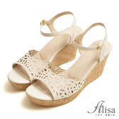 專櫃女鞋 雷射雕花踝釦楔型涼鞋-艾莉莎Alisa【202995231】米色下單區