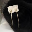 流蘇耳環 S925銀針 韓國高級感閃鉆蝴蝶長款流蘇耳釘個性超仙少女耳環F318 夢藝家